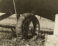 0252705 © Granger - Historical Picture ArchiveWHITE HORSE, YUKON TERRITORY, CANADA.   With a rough repair to the tire, the pilot was able to land the plane. St. Clair Streett.