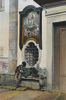 0253276 © Granger - Historical Picture ArchivePORTUGAL.   Two homeless boys sleep in the doorway of a church. A. W. Cutler.
