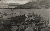 0253317 © Granger - Historical Picture ArchiveHAMMERFEST, NORWAY.   Boats and buildings crowd the Hammerfest harbor. L. Boulanger.