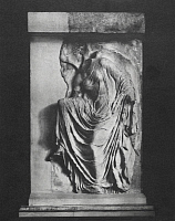 0253494 © Granger - Historical Picture ArchiveVICTORY.   A relief sculpture of Victory fastening her sandal. Alexander Wilbourne Weddell.