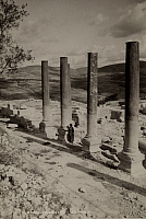 0253660 © Granger - Historical Picture ArchiveSAMARIA, BRITISH MANDATE OF PALESTINE.   A man walks along the ruins of the Roman forum. American Colony Photographers.