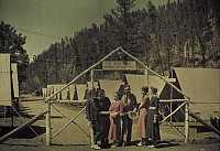 0253695 © Granger - Historical Picture ArchiveSTRATOBOWL, SOUTH DAKOTA, USA.   Expedition members stand outside the camp at Stratobowl. Richard Hewitt Stewart And Newton Blakeslee.