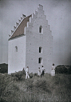 0254167 © Granger - Historical Picture ArchiveSKAGEN, DENMARK.   People stand beside a church, all but the tower is buried in sand. Gustav Heurlin.