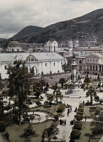 0254180 © Granger - Historical Picture ArchiveQUITO, PICHINCHA, ECUADOR.   An overhead view of The Plaza de La Independencia. Jacob J. Gayer.