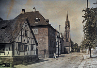 0254316 © Granger - Historical Picture ArchiveFROESCHWILLER, BAS-RHIN, ALSACE REGION, FRANCE.   A view of an historic town in the Franco-Prussian War of 1870. Gervais Courtellemont.