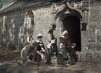 0254746 © Granger - Historical Picture ArchivePONT L'ABBE, BRITTANY, FRANCE.   A chapel at Pont-l'Abbe is filled requiring others to remain outside. Gervais Courtellemont.