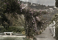 0254872 © Granger - Historical Picture ArchiveROQUEBRUNE, VAR, FRANCE.   Statue garden filled with flowers and ivy at the bottom of a mountain. Maynard Owen Williams.