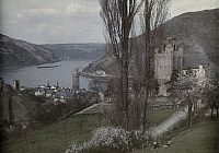 0255003 © Granger - Historical Picture ArchiveOBERWESEL, RHENISH PRUSSIA, GERMANY.   A view of the Rhine as seen from Oberwesel; a castle is on the right. Wilhelm Tobien.
