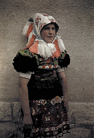 0255127 © Granger - Historical Picture ArchiveMEZOKOVESD, BORSOD, HUNGARY.   A young girl wears the Sunday costume and a headdress with fringe. Hans Hildenbrand.