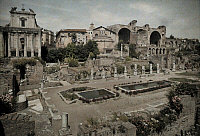 0255240 © Granger - Historical Picture ArchiveROME, ITALY.   A view of the Roman Forum and Constantine Basilica. Hans Hildenbrand.