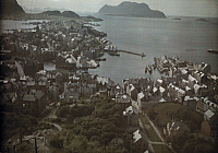 0255434 © Granger - Historical Picture ArchiveALESUND, NORWAY.   An elevated view of the port city of Alesund. Gustav Heurlin.