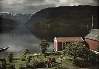 0255446 © Granger - Historical Picture ArchiveULVIK, NORWAY.   A view of the mountains and fjord from a hotel. Gustav Heurlin.
