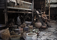 0255598 © Granger - Historical Picture ArchiveNEAR BANGKOK, SIAM.   A Siamese workman sits next to his garden in a Bangkok suburb. Gervais Courtellemont.