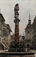 0255708 © Granger - Historical Picture ArchiveBERN, SWITZERLAND.   A bagpiper and goose statue surmount an old fountain in Bern. Hans Hildenbrand.