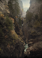 0255747 © Granger - Historical Picture ArchiveNEAR THUSIS, SWITZERLAND.   The Via Mala gorge in the crevasse of two mountains in the Alps. Hans Hildenbrand.