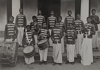 0256287 © Granger - Historical Picture ArchiveINDIA.   An Indian Salvation Army band poses with instruments and uniforms. Col. E. J. Parker.