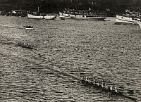 0256575 © Granger - Historical Picture ArchiveNEW LONDON, CONNECTICUT, USA.   The finish of the Yale versus Harvard boat race at New London. Paul Thompson.