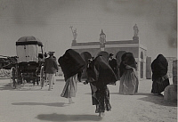 0256668 © Granger - Historical Picture ArchiveMALTA.   A group of Maltese women walk along a dusty road next to a carriage. S.L. Cassar.