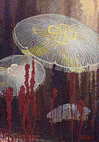 0257019 © Granger - Historical Picture ArchiveARTWORK.   Painting of three Aurelia aurita jellyfish of the variety flavidula. William H. Crowder.
