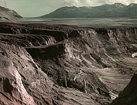 0257062 © Granger - Historical Picture ArchiveVALLEY OF TEN THOUSAND SMOKES, KATMAI NATIONAL PARK AND PRESERVE, ALASKA, USA.   A view of a canyon in the mudflow at the head of Katmai Valley. Frank I. Jones.