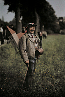 0257101 © Granger - Historical Picture ArchiveFRIESACH, CARINTHIA PROVINCE, AUSTRIA.   Peasant takes up collection for new church donning keg and cow horn. Hans Hildenbrand.