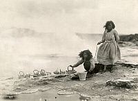 0257673 © Granger - Historical Picture ArchiveNEW ZEALAND.   Two women use natural hot springs to heat up their cooking pots. Herbert E. Gregory.