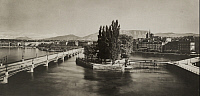 0258151 © Granger - Historical Picture ArchiveGENEVA, SWITZERLAND.   The Rhone flows through Geneva, Mount Blanc is in the background. Emile Fontanel.