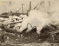 0258441 © Granger - Historical Picture ArchiveHOG ISLAND, PHILADELPHIA, PENNSYLVANIA, USA.   Steam is used to heat the ground in order to dig and lay foundations. No Credit Given.