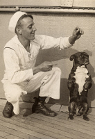 0258821 © Granger - Historical Picture ArchiveSAILOR AND DOG.   A sailor trains the ship's mascot, a Boston terrier. Underwood And Underwood.