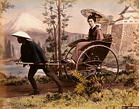 0073586 © Granger - Historical Picture ArchiveJAPAN: RICKSHAW & MT. FUJI.   Rickshaw against Mt. Fuji and Castle (studio photograph). Hand-tinted albumen photograph by Kimbei, c1880.