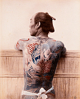 0073591 © Granger - Historical Picture ArchiveJAPAN: TATTOOED MAN, c1890.   Tattoed man. Hand-tinted albumen photograph attributed to Farsari, c1890.