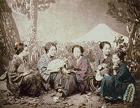 0075769 © Granger - Historical Picture ArchiveJAPAN: PICNIC, 1863.   Japanese girls on a picnic at the foot of Mount Fuji. Photograph by Beato, c1863.