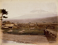 0075911 © Granger - Historical Picture ArchiveJAPAN: MT. FUJI, c1878.   A view of Mt. Fuji from Yoshiwara. Hand-tinted albumen photograph by Baron von Stillfried, 1878-1885.