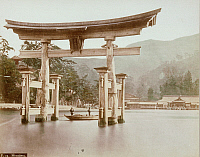 0075943 © Granger - Historical Picture ArchiveJAPAN: MIYAJIMA, 1880s.   The town of Miyajima on the sacred Shinto island of Itsukushima. Hand-tinted albumen photograph by Farsari & Co., 1880s.