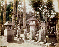 0075944 © Granger - Historical Picture ArchiveJAPAN: BURIAL GROUND.   Sengakuji, burial place of the 47 Ronin. Hand-tinted albumen photograph by Farsari & Co., 1885-1900.