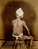 0075962 © Granger - Historical Picture ArchiveJAPAN: TATTOOED MAN, c1885.   Hand-tinted albumen photograph by Farsari & Co., 1885-1900.