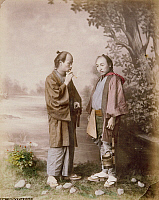 0075965 © Granger - Historical Picture ArchiveJAPAN: PORTRAIT, c1885.   Two brothers. Hand-tinted albumen photograph by Farsari & Co., 1885-1900.