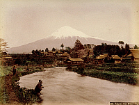 0075971 © Granger - Historical Picture ArchiveJAPAN: MT. FUJI, 1880s.   A view of Mt. Fuji from Omiya village. Hand-tinted albumen photograph by Kimbei, 1880s.
