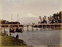 0075972 © Granger - Historical Picture ArchiveJAPAN: MT. FUJI, 1880s.   A view of Mt. Fuji from Tagonoura, Tokaido. Hand-tinted albumen photograph by Kimbei, 1880s.
