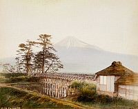 0075973 © Granger - Historical Picture ArchiveJAPAN: MT. FUJI, 1880s.   Hand-tinted albumen photograph by Kimbei, 1880s.