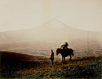 0075975 © Granger - Historical Picture ArchiveJAPAN: MT. FUJI, 1880s.   Pilgrims gazing at Mt. Fuji. Hand-tinted albumen photograph by Kimbei, 1880-1890.