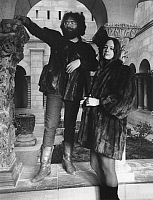 0265588 © Granger - Historical Picture ArchiveJERRY GARCIA (1942-1995).   American musician Jerry Garcia and a groupie friend visit the Cloisters in New York in 1968. Full credit: Richard Busch / Granger, NYC -- All rights resrk.
