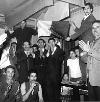 0134674 © Granger - Historical Picture ArchiveFRENCH ALGERIANS.   Algerians of France celebrating the end of the war and Independence of Algeria with FLN (National Liberation Front) flag and music, here in 18th arrondissement in PAris july 3, 1962. Full credit: AGIP - Rue des Archives / Granger, NYC -- All rights reserved.