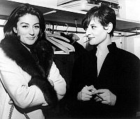 0135339 © Granger - Historical Picture ArchiveANOUK AIMEE FELICITE BARBARA.   Neg A 16169 PL Anouk Aimee congratulates the french singer Barbara in her lodge in the theater of the east of Paris, on december 31st, 1965. Full credit: AGIP - Rue des Archives / Granger, NYC -- All rights r