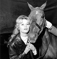 0136823 © Granger - Historical Picture ArchiveBRIGITTE BARDOT.   French actress Brigitte Bardot learning riding horse for film La femme et le Pantin march 31, 1958. Full credit: AGIP - Rue des Archives / Granger, NYC -- All ri.  EDITORIAL USE ONLY; RESTRICTED OUTSIDE US.