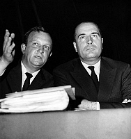 0137841 © Granger - Historical Picture ArchiveCHARLES HERNU AND FRANCOIS MITTERRAND.   Charles Hernu and Francois Mitterrand at convention of republican institutions on october 9, 1965. Full credit: AGIP - Rue des Archives / Granger, NYC -- All Rights Reserved.