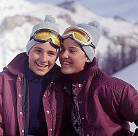 0138215 © Granger - Historical Picture ArchiveCHRISTINE GOITSCHEL AND FERNANDE BOCHATAY.   Skiers Christine Goitschel (France), silver medal in women's giant slalom super ranking at 1964 JO in Innsbruck and Fernande Bochatay (Suisse) bronze medal in women's giant slalom super ranking at the 1968 JO in Grenoble, here c.1965. Full credit: AGIP - Rue des Archives / Granger, NYC -- All rights reserved.