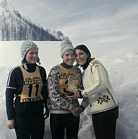 0138237 © Granger - Historical Picture ArchiveCHRISTINE TERRAILLON, FERNANDE BOCHATAY AND MARIELLE GOITSCHEL.   Skiers Christine Terraillon, Fernande Bochatay et Marielle Goitschel during trophy ceremony of a ski competition on december 22, 1965 in Val d' Isere (Alps). Full credit: AGIP - Rue des Archives / Granger, NYC -- All rights reserved.