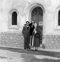 0141589 © Granger - Historical Picture ArchiveFELLINI MASINA.   Federico Fellini and Giulietta Masina visiting the Saint Peter chapel in Villefranche-sur-Mer decorated by Jean Cocteau may 13, 1957, France during Cannes film festival. Full credit: AGIP - Rue des Archives / Granger, NYC -- All Rights Reserved.