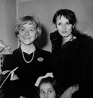 0142438 © Granger - Historical Picture ArchiveFRANCOISE SAGAN FELICITE BARBARA.   Francoise Sagan congratulating singer Barbara after her concert at Olympia in february 4, 1969. Full credit: AGIP - Rue des Archives / Granger, NYC -- All Rights Reserved.